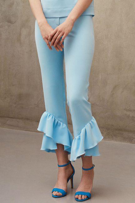 Pantalon din crep cu volan | Mirela Diaconu Magazin Online