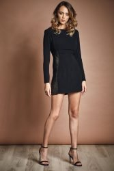 Black mini dress with crystal inserts