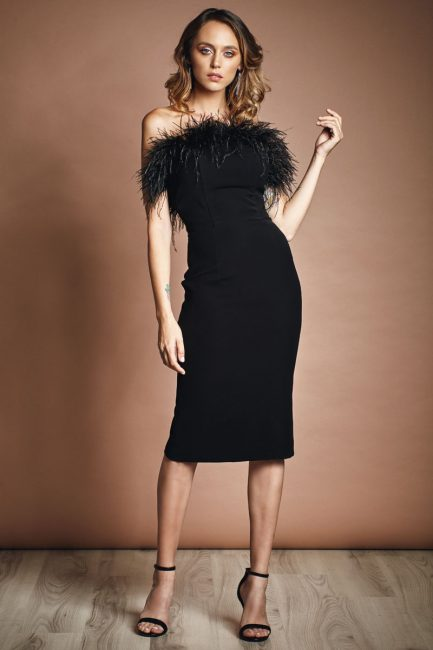 Body con dress with feathers