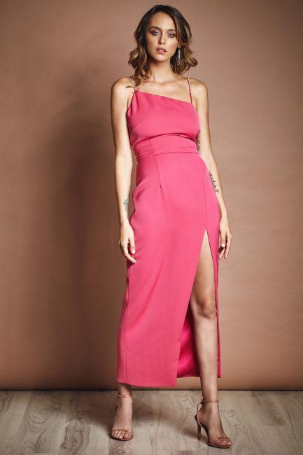 Crystal embellished asymmetric crepe midi dress