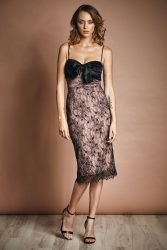 Lace and satin midi dress with bow