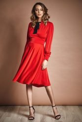 Midi dress with bow