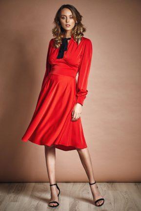 Midi dress with bow