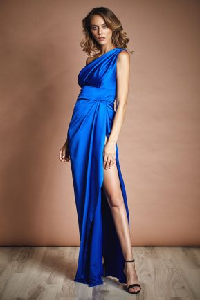 One shoulder satin gown