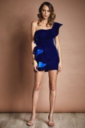 One shoulder velvet mini dress