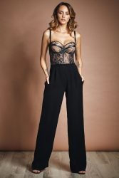 Pantsuit with lace bodice