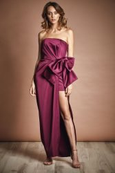 Satin midi gown with bow