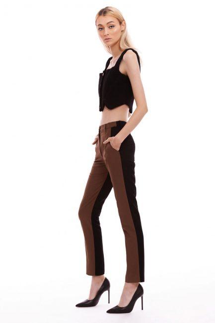 Pantalon din stofa in doua culori