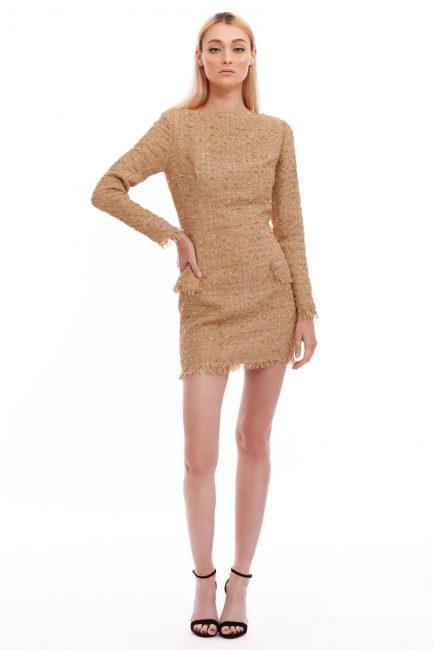 Rochie mini din stofa tip Chanel
